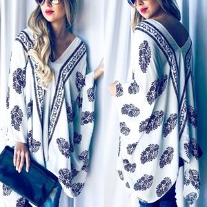 Boho Chic Tunic Top - WHITE